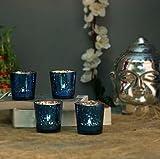 AZURE MERCURY T-LIGHT HOLDERHAND CUT INDIAN DECORATIVE WEDDING GIFT CRYSTAL GLASS VINTAGE EUROPEAN DESIGN