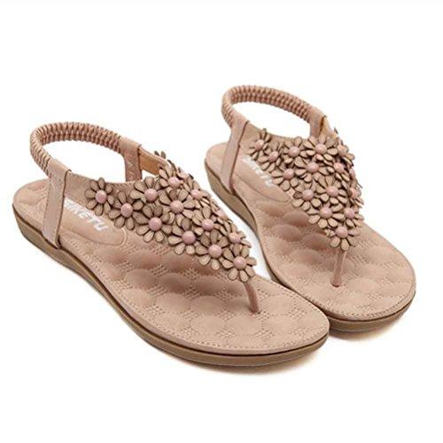 Ouneed® Flip Flops Damen Erwachsene Zehentrenner , Damen mode süße wulstige Wohnungen Cap Zeheebenen Bohemian Herringbone Sandelholz Strand Schuhe (37, Grau)