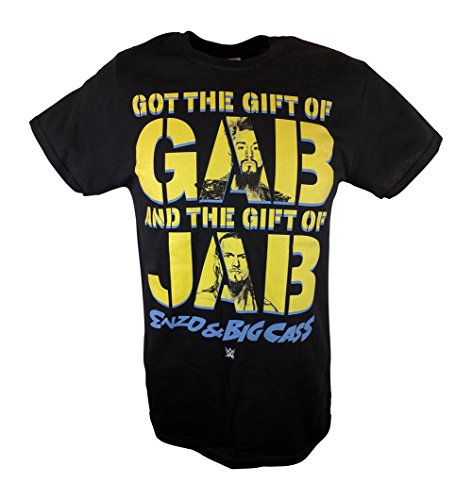 Enzo Amore Big Cass Gift of Jab Faces WWE Mens Blue T-shirt-XXL by WWE