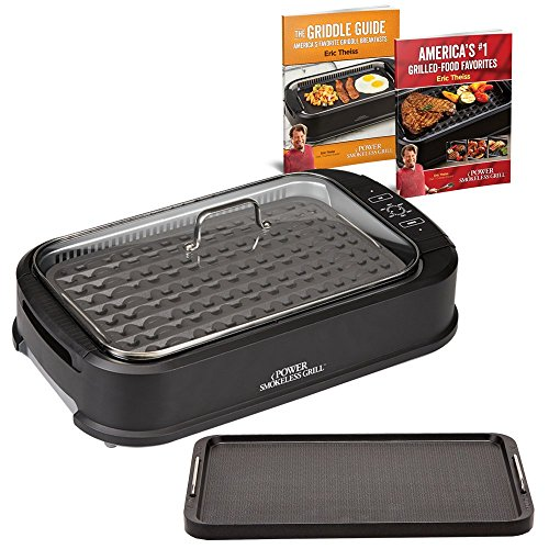 Power Smokeless Grill with Tempered Glass Lid with Interchangeable Griddle Plate and Turbo Speed Smoke Extractor Technology (Grilled Oven Chicken)