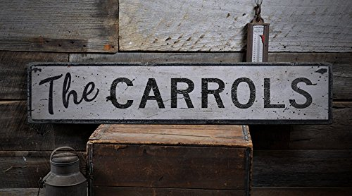 The Carrols   Custom Carrol Last Name Distressed Wooden Sign   9 25 X 48 Inches