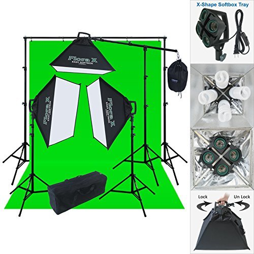 Linco Lincostore 2000 Watt Photo Studio Lighting Kit With 10x20 feet Backdrop and Background Stand Photography Studio Flora X Fluorescent 4-Socket Light Bank and Auto Pop-Up Softbox by Linco