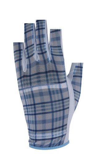 HJ Ladies Solaire Half-finger Golf Glove Blue Plaid Large Right Hand