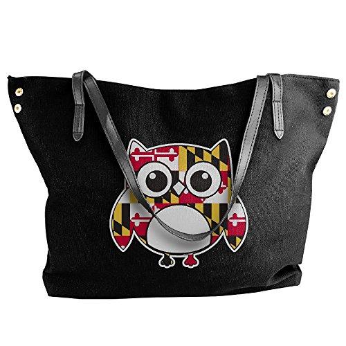 Handbags Shoulder Maryland Black Owl Handbag Canvas Tote Flag Large Women's 18qxSOFww7