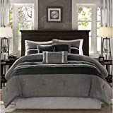 7 Piece Black Grey Ruffle Stripe Pattern Comforter with Decorative Pillows Cal King Set, For Luxury Master Bedrooms, Elegant Classic Style Stripe-Inspired Design, Bold Colors, Microsuede, Polyester