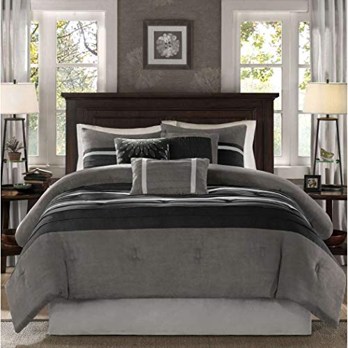 7 Piece Slate Grey Black Patchwork Comforter Cal King California Set, Gray Adult Bedding Master Bedroom Modern Stylish Pintuck Pattern Colorblock Elegant Themed Traditional Microsuede Polyester Stripe