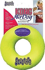 KONG Air Dog Squeakair Donut Dog Toy, Large, Yellow