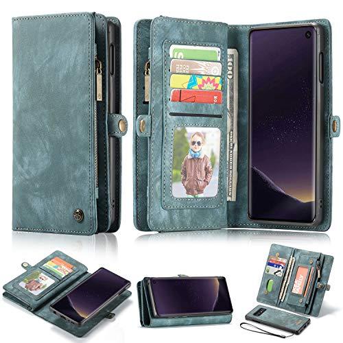 Samsung S10/S10e Case Wallet,AKHVRS Handmade Premium Cowhide Leather Wallet Case,Zipper Wallet Case [Magnetic Closure] Detachable Magnetic Case & Card Slots for Samsung Galaxy S10e Blue