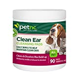 PetNC Natural Care Clean Ear Cleansing Pads for All Pets, 90 Count