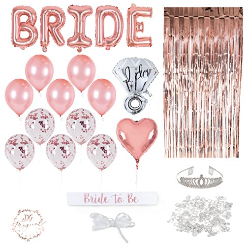 Rose Gold Bachelorette Party Decorations Kit with Bride to Be Sash, Balloons and Doorway Curtain (22 Pieces) DG Magical Parties