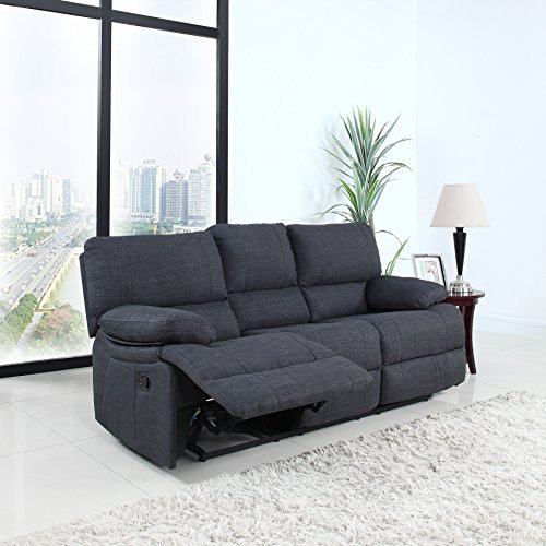 Classic and Traditional Dark Grey Fabric Oversize Recliner Chair, Love Seat, and Sofa (3 Seater)