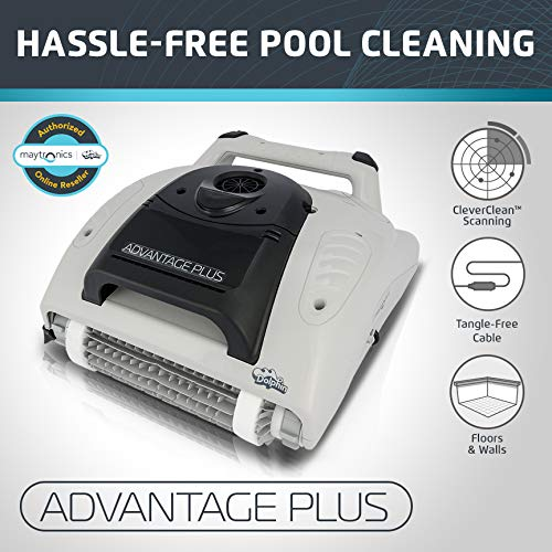 Dolphin Advantage Plus Automatic Robotic Swimming Pool Cleaner with Dual Scrubbing Brushes and Tangle-Free Cord Ideal for In-Ground Pools Up to 50 Ft. by Dolphin