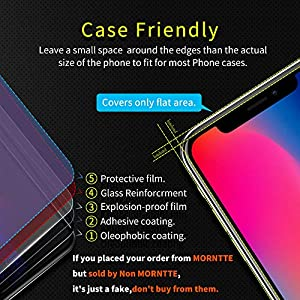 iPhone X Screen Protector-MORNTTE iPhone Xs-5.8'' Tempered Glass with 3D Touch Case Protective Screen Protector for Apple iPhone 10,iPhone X,iPhone Xs-5.8'' from MORNTTE