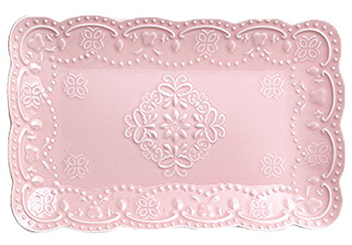 Jusalpha Pink Rectangle Embossed Lace Plate-1 Piece (10 Inches, Pink) -