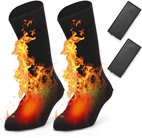 BAOTWO Verwarmde sokken, elektrische verwarmingskokken voor heren en dames, warme katoenen sokken voor outdoorsporten…