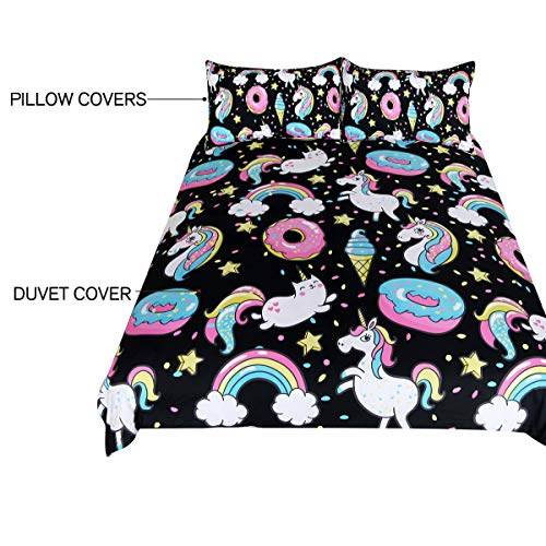ARIGHTEX Chubby Unicorn Bedding Kids Girls Cute Unicorn in Rainbow Sprinkles Donut Pattern Duvet Cover 3 Piece College Dorm Sweet Bed Sets (Full) by ARIGHTEX (Image #4)