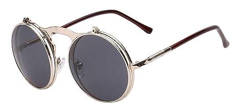 Gafas De Sol Gafas Steampunk Plegable Hombres Ronda Vintage Mens Gafas De Sol Gafas De Moda Marca Uv400 Negro, Marrón Dorado