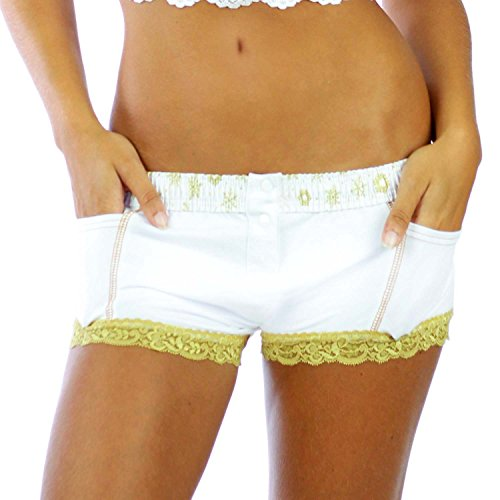 Foxers White Boxer Brief With Gold Snowflake Band (Boxers Snowflake Cotton)