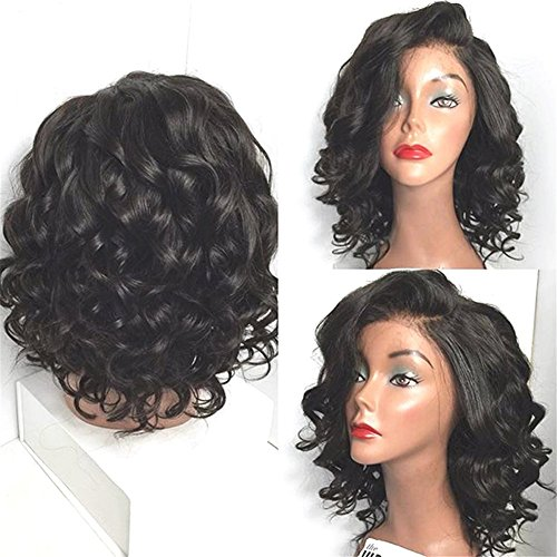 Chanecci Short Wet And Wavy Lace Front Wigs For Black Women Short Hairstyles Synthetic Front Lace Wig With Baby Hair Medium Brown Lace (Black Lace Shorts)