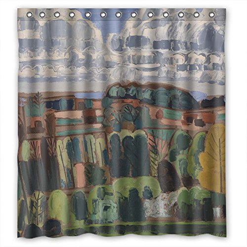 NASAZONE Art Painting Jean Brusselmans - Pajottenland Christmas Shower Drape Polyester Best For Custom Teens Artwork Him Kids. Eco Friendly Width X Height / 66 X 72 Inches / W H 168 By 180 Cm(fabr