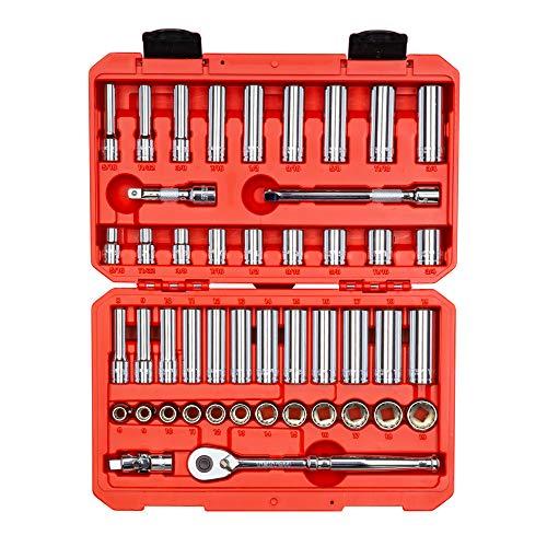 TEKTON 3/8 Inch Drive 12-Point Socket & Ratchet Set, 47-Piece (5/16-3/4 inch, 8-19 mm) | SKT15302