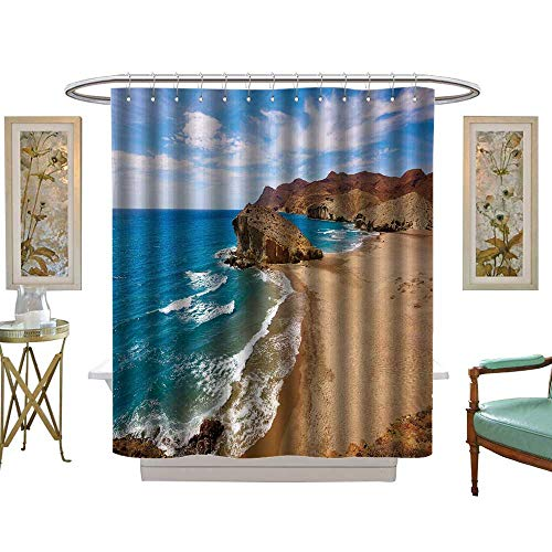 luvoluxhome Shower Curtain Collection by Almeria Playa del Monsul Beach at Cabo de Gata in Spain W54 x L78 Custom Made Shower Curtain ()
