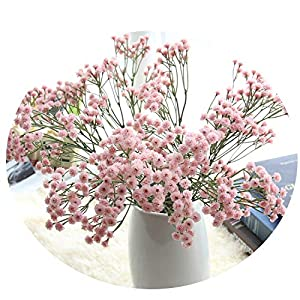 Endand Gypsophila Artificial Flowers Baby's Breath Fake Floral Plant for Wedding Bouquet Party Decorations 3 Colors #L,Pink,United States 116