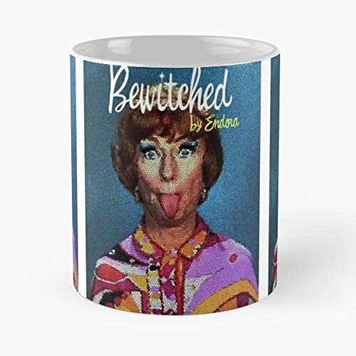 Endora Bewitched Agnes Moorhead Hollywood 60 Halloween Oldies Vintage Tongue Funny Face Sixties Tv Show Famous Wichs - Morning Coffee Mug Ceramic Novelty -