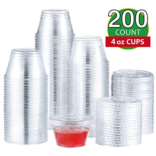 Eupako 4 oz Plastic Disposable Portion Cups with Lids 200 Sets, Clear Plastic Cups With Lids, Jello Shot Cups, Souffle Cups, Sample Cups