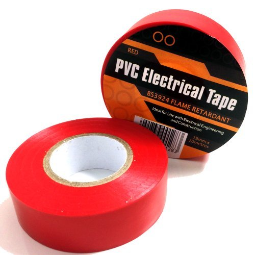 2 x RED ELECTRICAL PVC INSULATION / INSULATING TAPE 19mm x 20m - FLAME RETARDANT by Falcon workshops