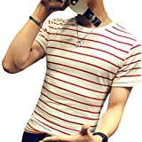LOGEEYAR Mens Long-Sleeve Cotton Fitted Contrast Color Stitching Stripe Slim T-Shirt (Small, 1-red)