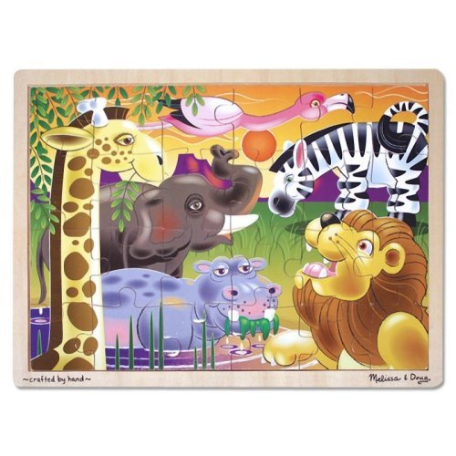 African Plains Jigsaw Puzzle ('African Plains' 24-Piece Wooden Jigsaw Puzzle + FREE Melissa & Doug Scratch Art Mini-Pad Bundle [29377])