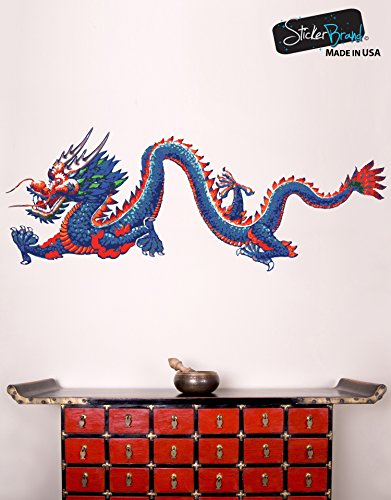 Dragon Large Poster (Stickerbrand Chinese Dragon Wall Decal Sticker Large Printed Full Color Graphic #MMartin147s 20in X 52in (Facing Left))