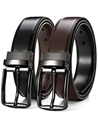 Mens Leather Reversible Belt Dress Adjustable with Rotated Removable Pin Buckle 1.3'', Trim to Fit with Gift Box by CHAOREN