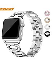 Hotodeal Bands Compatible Apple Watch Band 38mm&42mm Women Men Stainless Steel Metal Replacement Band Compatible Iwatch Wristband Sport Strap,Series 3/2/1,Sport Edition