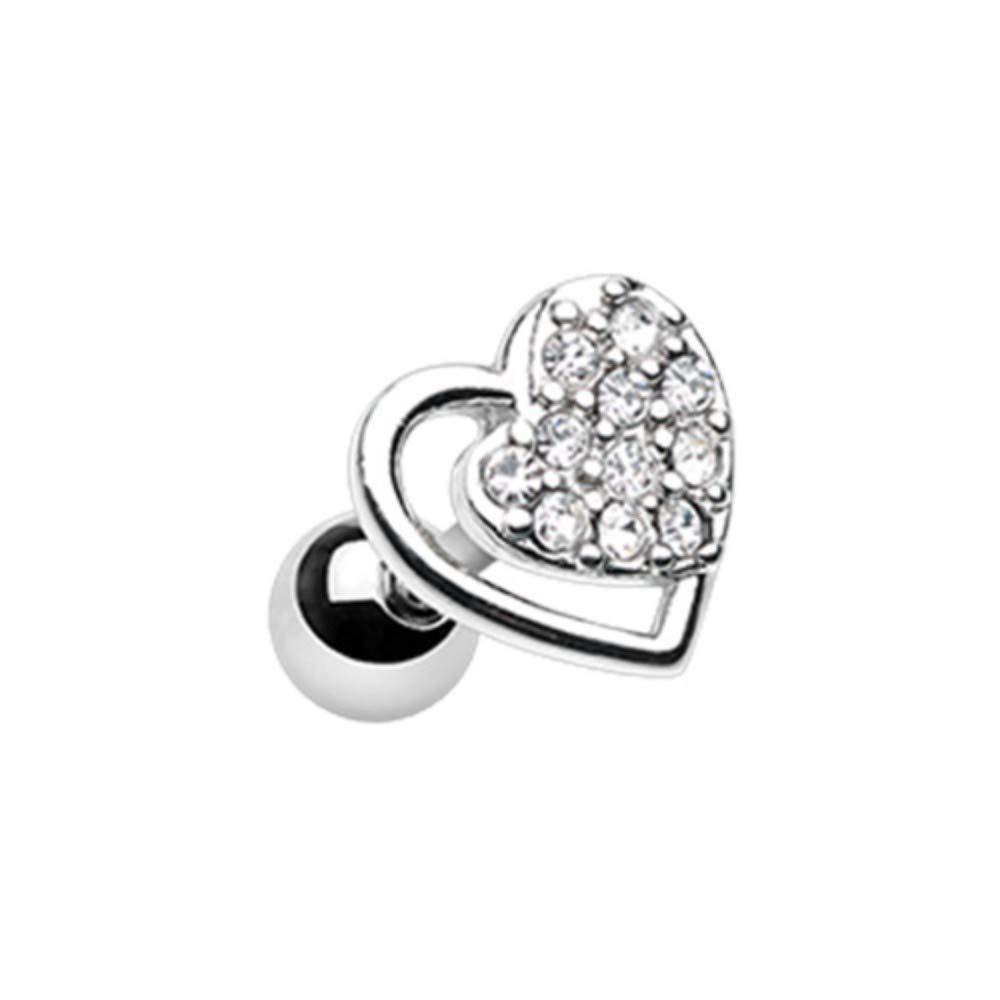 18 GA Dreamy Heart Cartilage Tragus Ear Earring 316L Stainless Surgical Steel Body Jewelry Piercing Davana Enterprises
