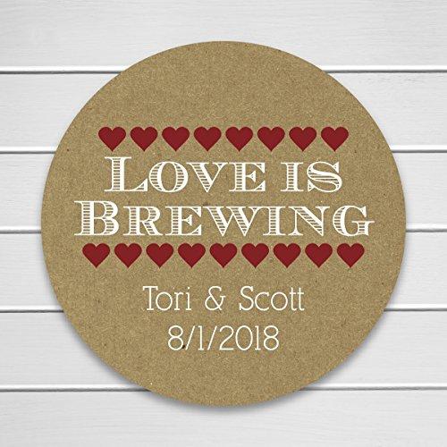 Love is Brewing Kraft Wedding Coffee Tea Beer Favor Stickers (#205-KR-WT-B)