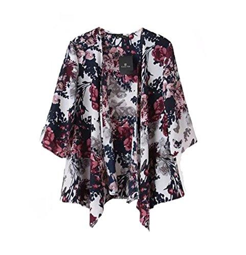 Women Ethnic Printed Floral Loose Kimono Cardigan Blouses (M)