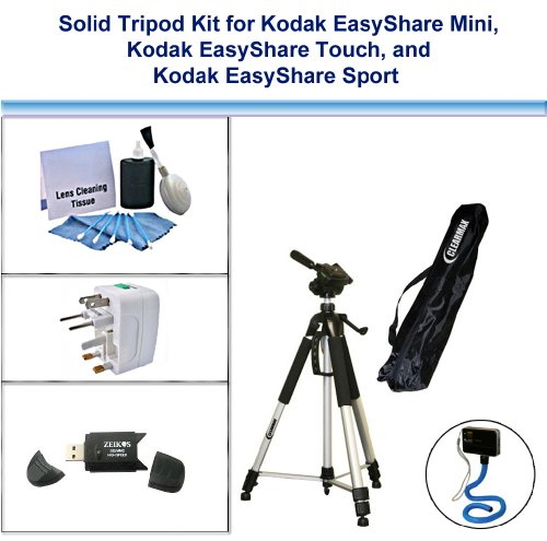 Solid Tripod Kit for Kodak EasyShare Mini, Kodak EasyShare Touch, Kodak EasyShare Sport with Monopad, USB FlashCard Reader, Universal Adapter and 5PC Lens Cleaning Kit by ClearMax