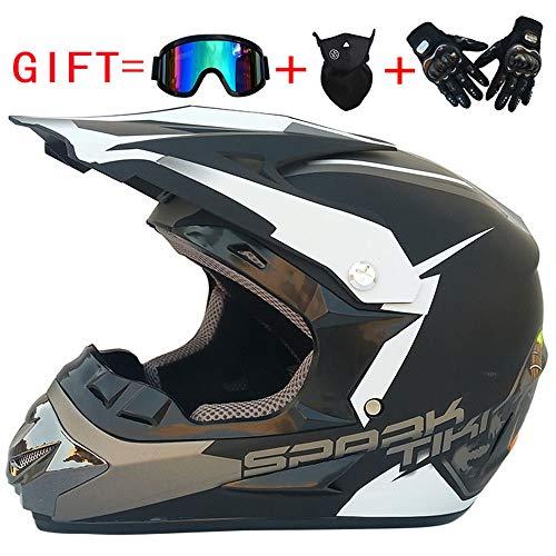 CHUDAN Men's Motocross Helmet Protection Safety Helmet, Girl Offroad Motorcycle Helmet Downhill DH Racing Motorcycles ATV MTB Mx Helmets (Send Masks, Glasses, Gloves) DOT Certification,L
