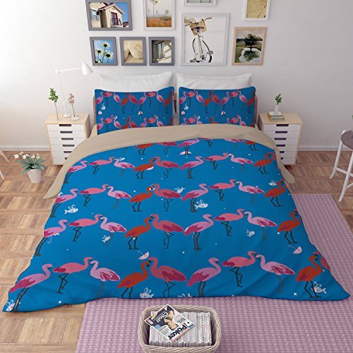 Flamingo Series Bedding Sets - MeMoreCool Polyester No Comforter No Sheet Only Covers 3 Pieces Full 1380g by MeMoreCool