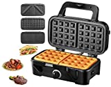 TIBEK Sandwich Maker, Waffle Maker, Sandwich Grill, 1200-Watts, 5-Gears Temperature Control, 3-in-1 Removable Non-stick Coating Easy to Clean, LED Indicator Lights, Cool Touch Handle, Black