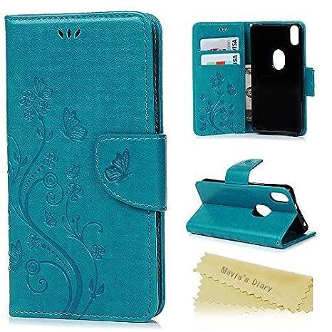 Funda BQ Aquaris X5 Plus, Libro de Cuero Impresión Con Tapa y Cartera, Correa de mano - Maviss Diary Carcasa PU Leather Case, Soporte Plegable y ...