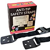 SmartChild Anti Tip Safety Straps | Anchor Flat Screen TV or Furniture to Wall | Extra Strong Metal (Nickel Effect) | Baby & Child Proof, Seniors Safety, Earthquake & RV Protection (2 x Black Straps)