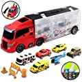 deAO Car Transporter Carrycase with Truck Design – Car Set Carrier with 6 Assorted Cars Included