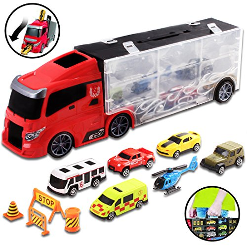 - deAO Car Transporter Carrycase with Truck Design - Car Set Carrier with 6 Assorted Cars Included