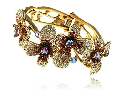 Alilang Vintage Smoked Topaz Crystal Rhinestone Floral Flower Hibiscus Lei Bangle Cuff Bracelet -