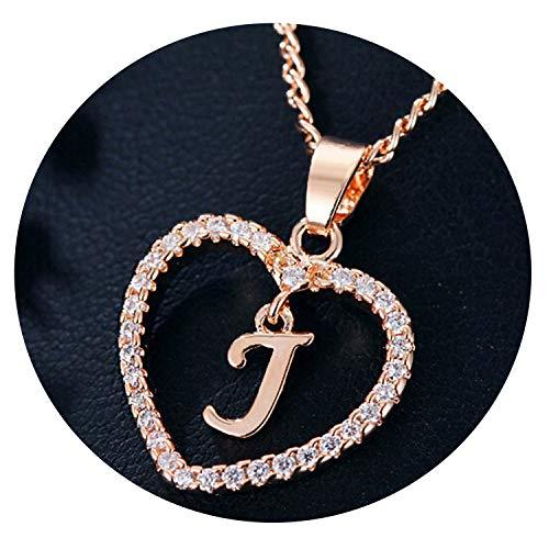 (dream-boy-kkk Gold Color Love Heart Crystal Pendant Letter Name Necklace Charm Women 26 Capital Letters Choker Jewelry)