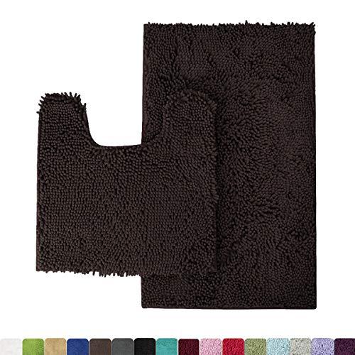 MAYSHINE Bathroom Rug Toilet Sets and Shaggy Non Slip Machine Washable Soft Microfiber Bath Contour mat (Brown,32