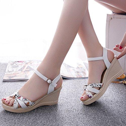 SHOESHAOGE Crénelé Nez Des Chaussures Avec EU38 Heeled Femmes High Hasp Taiwan Imperméable Sandales Poisson Pente YYxarF4